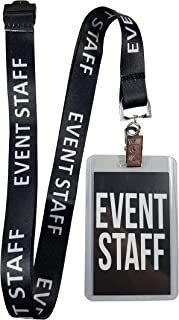 RockNerdy - Event Staff Lanyard w/Safety Breakaway, Plastic Card Holder & Card Pass - ID Holder for Backstage Concert Party Birthday Gaming - ID Badge Holder for Men Women Crew (Black 10 Lanyards)