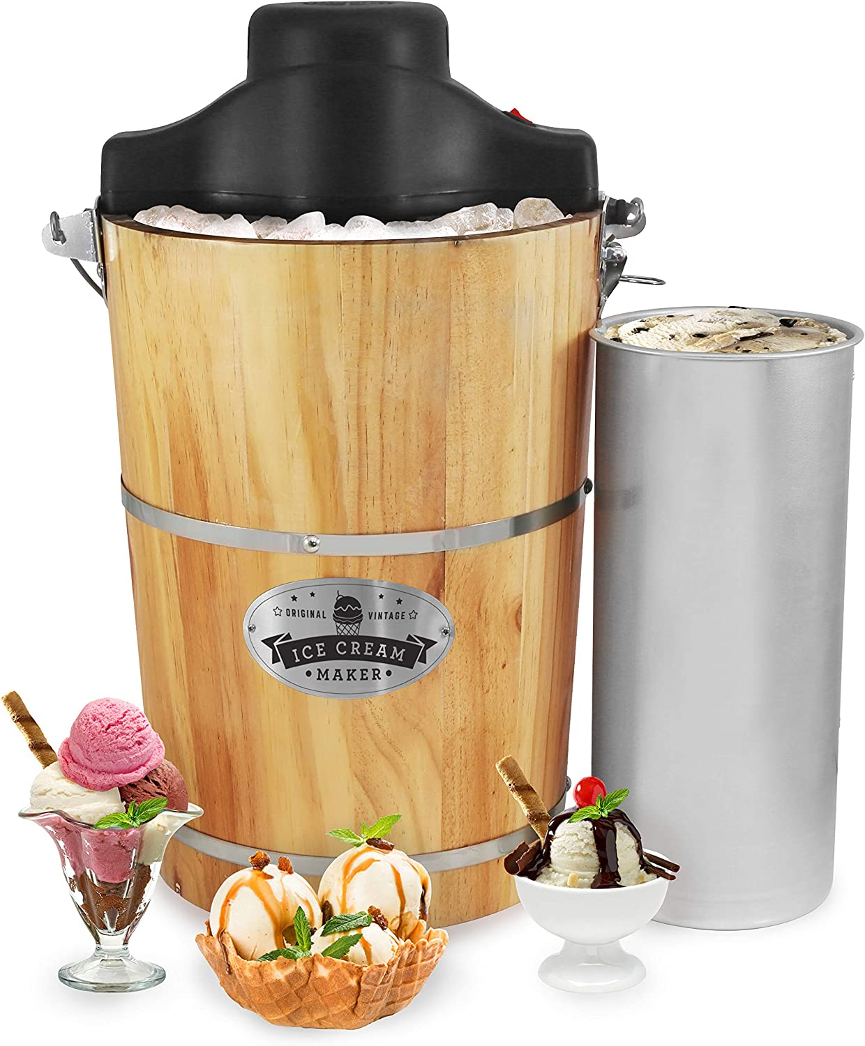Amazon Com Elite Gourmet Eim 506 6 Quart Old Fashioned Ice Cream Maker With Electric Motor And Hand Crank Maple Kitchen Dining