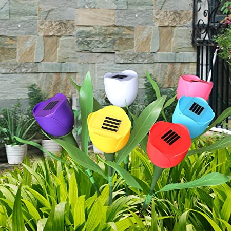Garden Tulip Flower Shape Decor LED Solar Powered Lights Outdoor Yard O9W2