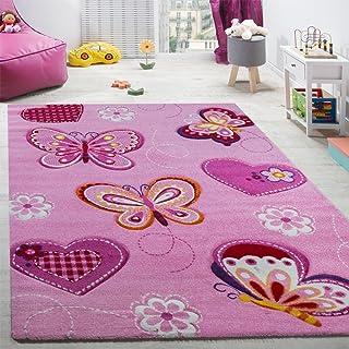 comprar comparacion Paco Home Alfombra De Habitación Infantil Contorneada con Motivos De Mariposas Rosa, tamaño:120x170 cm