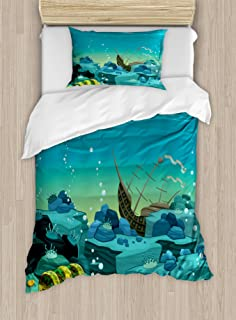 Ambesonne Cartoon Duvet Cover Set, Seascape Underwater with Treasure Galleon and Sunk Ship Pirate Kids Print, Decorative 2 Piece Bedding Set with 1 Pillow Sham, Twin Size, Yellow Teal