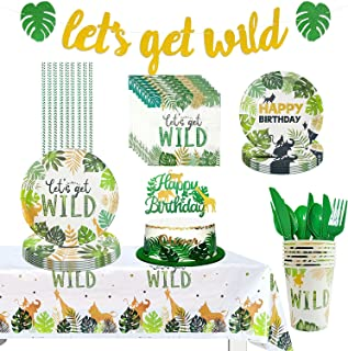 Safari Birthday Decorations - Animal Jungle Theme Party Supplies Includes Banner, Cake Topper, Cutlery, Plate, Napkin, Tab...