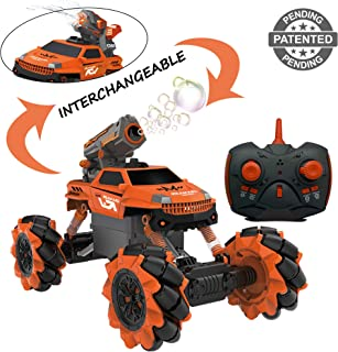 Vaiyer Rechargeable Remote Control Stunt Car for Kids with Interchangeable Toy Bubble Blaster and Water Gun Tops, Rock Crawler Outdoor Off Road Vehicle with 360 Degree Movement (Orange)