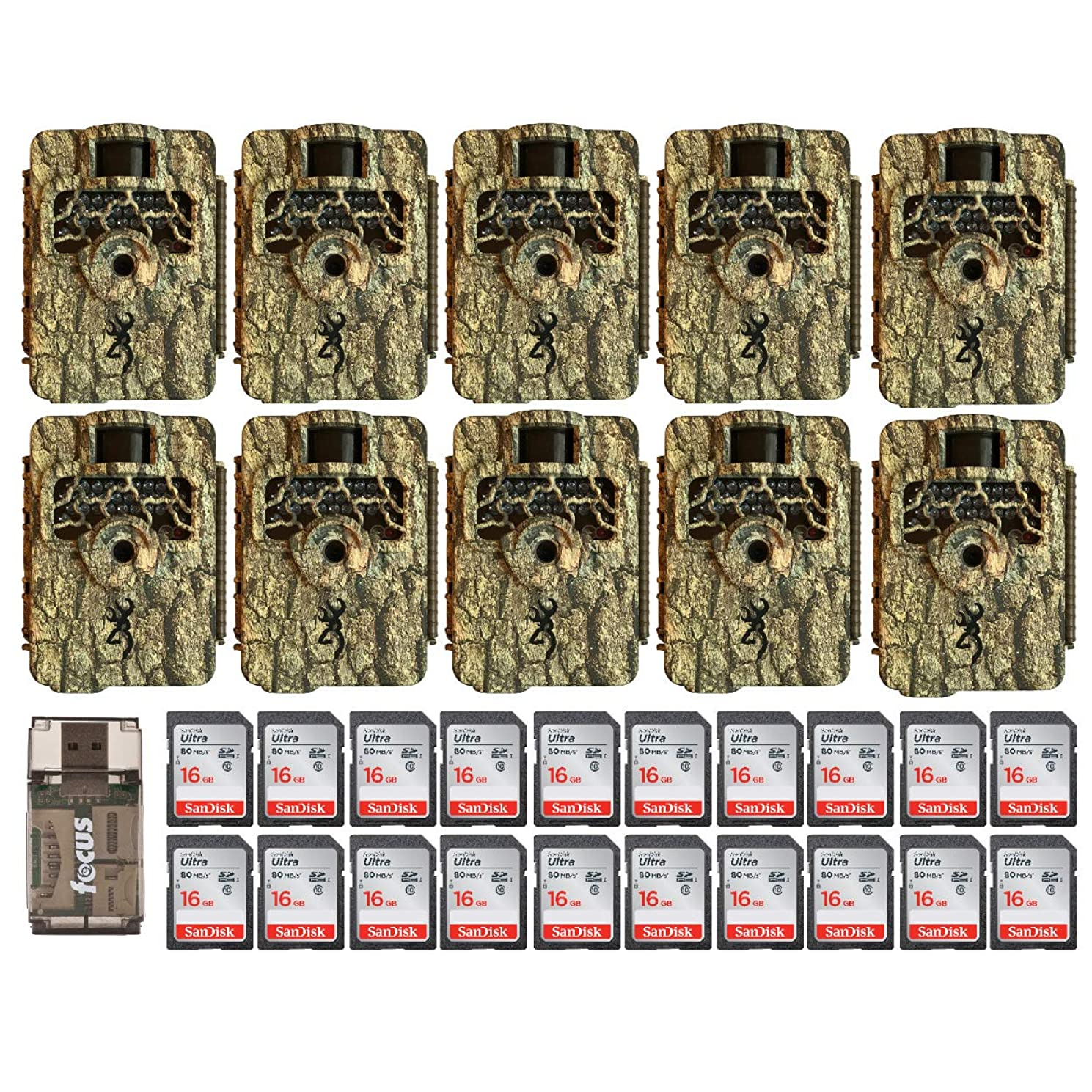 Browning Trail Cameras Command Ops HD 16MP IR Game Cam 10-Pack, Camo, with Twenty 16GB Memory Cards and Focus Card Reader