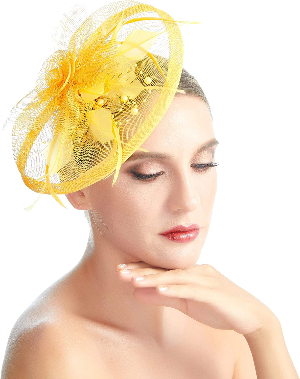 SACASUSA New Feather Flower Women Fascinator Pearl Beads Mesh Formal Cocktail Hat Hair Clip