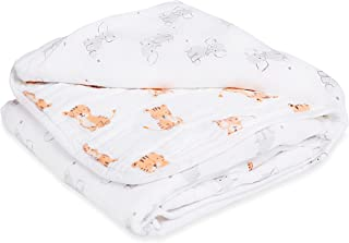 ADEN Anais Muslin Blanket; 100% Cotton Muslin; 4 Layer Lightweight and Breathable; Large 44 X 44 inch; Safari Babes - Elephant/Tiger