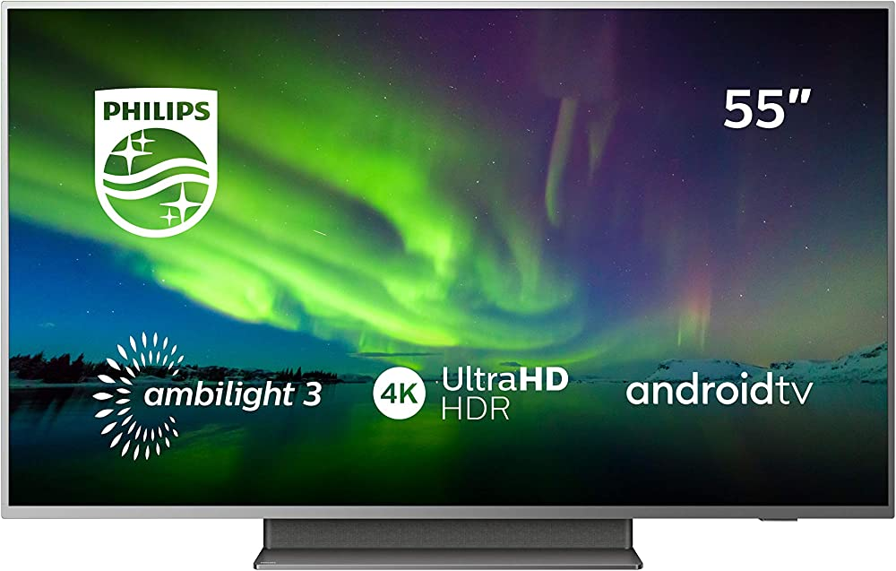 Philips televisore android, smart tv 4k uhd led wifi, ambilight 55 pollici 55PUS7504/12