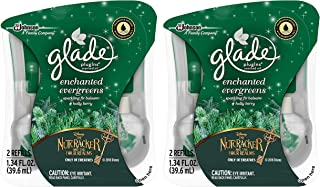 Glade Plugins Scented Oil Refills - Holiday Collection 2018 - Enchanted Evergreens - 2 Count Oil Refills Per Package - Pack of 2 Packages