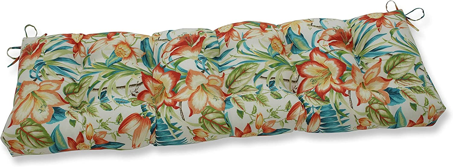 Pillow Perfect Outdoor/Indoor Botanical Glow Tiger Lily Tufted Bench/Swing Cushion, 60
