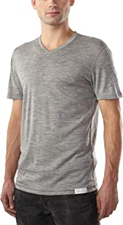 Sponsored Ad - Woolly Clothing Men's Merino Wool V-Neck Tee Shirt - Everyday Weight - Wicking Breathable Anti-Odor