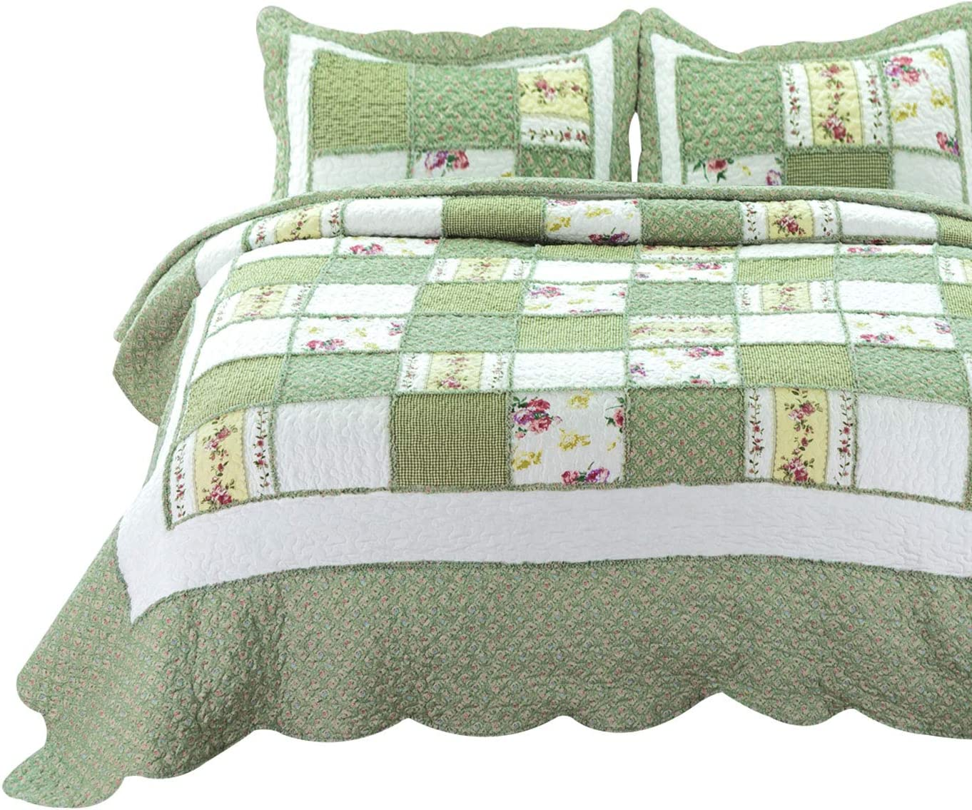 Bedsure 3-Piece Printed Quilt Limited price Set 106x96 San Jose Mall Size inches King Gre