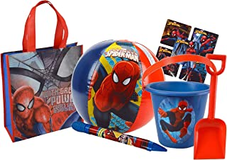 UPD Kids 5pc Summer Bucket of Fun! Includes Reusable Beach Tote, Pail, Shovel, Water Blaster & Beach Ball Featuring Spiderman!