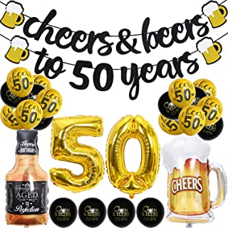 50 Year Anniversary Decorations - Cheers & Beers to 50 Years Banner Fifty Sign Latex Balloon 40 inch