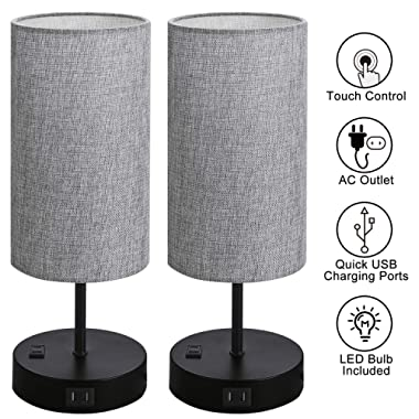 Set of 2 Touch Control Bedside Table Lamp, 3-Way Dimmable Nightstand Lamps with 2 USB Charging Ports&1 AC Outlet, ST64 E26 LED Bulbs Included, Grey Fabric Cylinder Shade Ideal for Bedroom Living Room