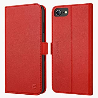 iPhone 8 case iPhone 7 case ZOVER Genuine Leather Wallet Case Flip Folio Book Case with RFID Blocking Kickstand Feature Card Slots & ID Holder and Magnetic Clasps for iPhone 7 and iPhone 8 Red
