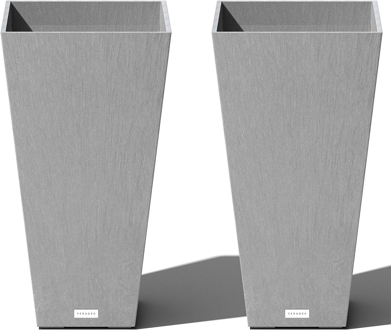 19+ Veradek V Resin Indoor/Outdoor Taper Planter, 8 Pack 86 inch, Grey Stock