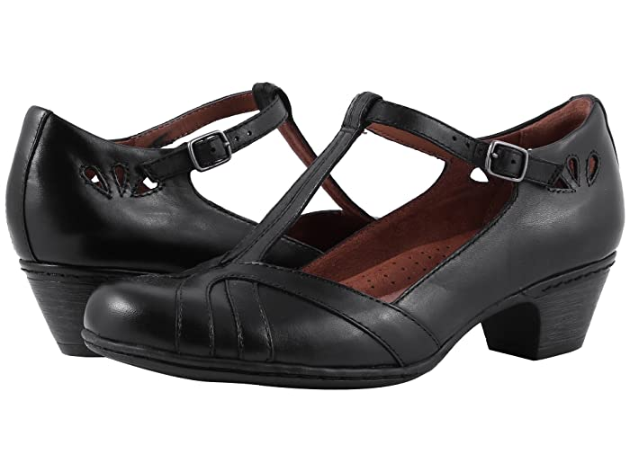 Retro Vintage Style Wide Shoes Cobb Hill Cobb Hill Angelina Black Womens Maryjane Shoes $119.95 AT vintagedancer.com