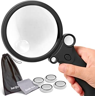 The multipurpose magnifier with light for professionals & collectors | 4 magnification modes | up to 55x magnification | scratch-resistant magnifying glass | for reading, coin, stamp & rock collecting