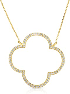 Sterling Silver Open Four Leaf Clover Cubic Zirconia Necklace with Adjustable Length.