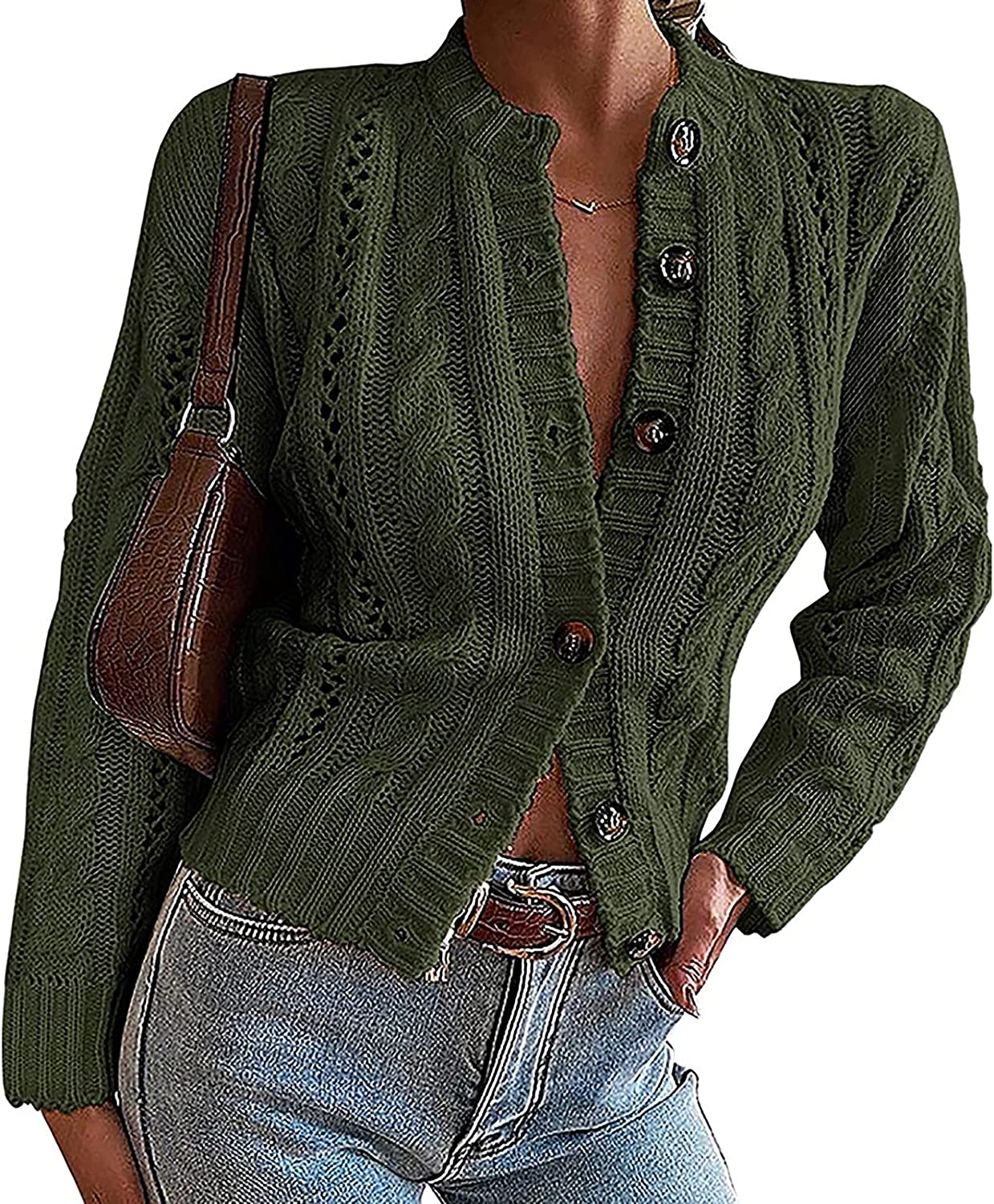 Women's Winter Button Down Jacket Casual Fashion Cable Knit Sweater Cardigan Long Sleeve Lightweight Loose Tops