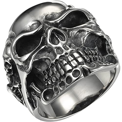 fddcbf4f59 HooAMI Gothic Stainless Steel Vintage Gothic Punk Skull Biker Men's Ring, Antique  Silver, Available