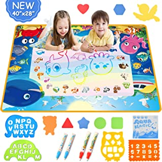 Mixi Aqua Magic Doodle Mat, Toys for 2 3 4 5 6 Year Old Boys Girls Gifts, 40 X 28 Inches Extra Large Water Drawing Mat Edu...