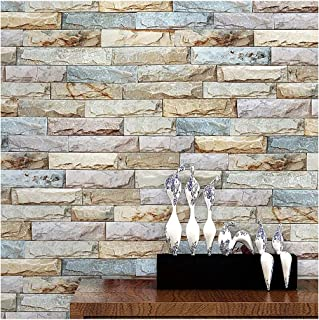 Blooming Wall Faux Vintage Brick Stone Tiles Wallpaper Wall Mural for Kitchen Bathroom Livingroom,57 Sq Ft/Roll (20073)
