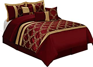 HIG 7 Piece Comforter Set Queen- Burgundy and Gold Taffeta Fabric Embroideried- Claremont Bed in A Bag Queen Size- Smooth and Good Gloss-1 Comforter,2 Shams,3 Decorative Pillows,1 Bedskirt