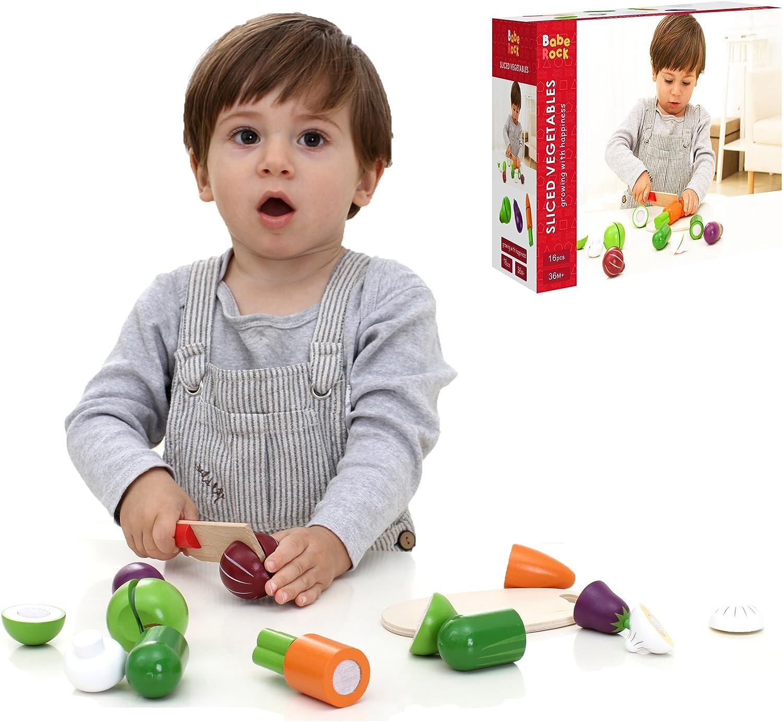 Babe Rock Geschnittene Gemüse-hlzerne Küche-Spiel-Nahrungsmittelsatz-Spielwaren
