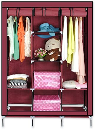ADA Handicraft Collapsible Portable Closet Storage Organizer Wardrobe Clothes Rack with Shelves - Wine Red (Need to Be Assembled)
