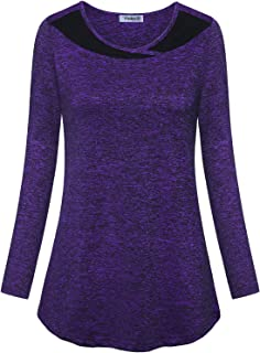 Vindery Women's Color Block Yoga Top Dry Fit Running Workout Shirt