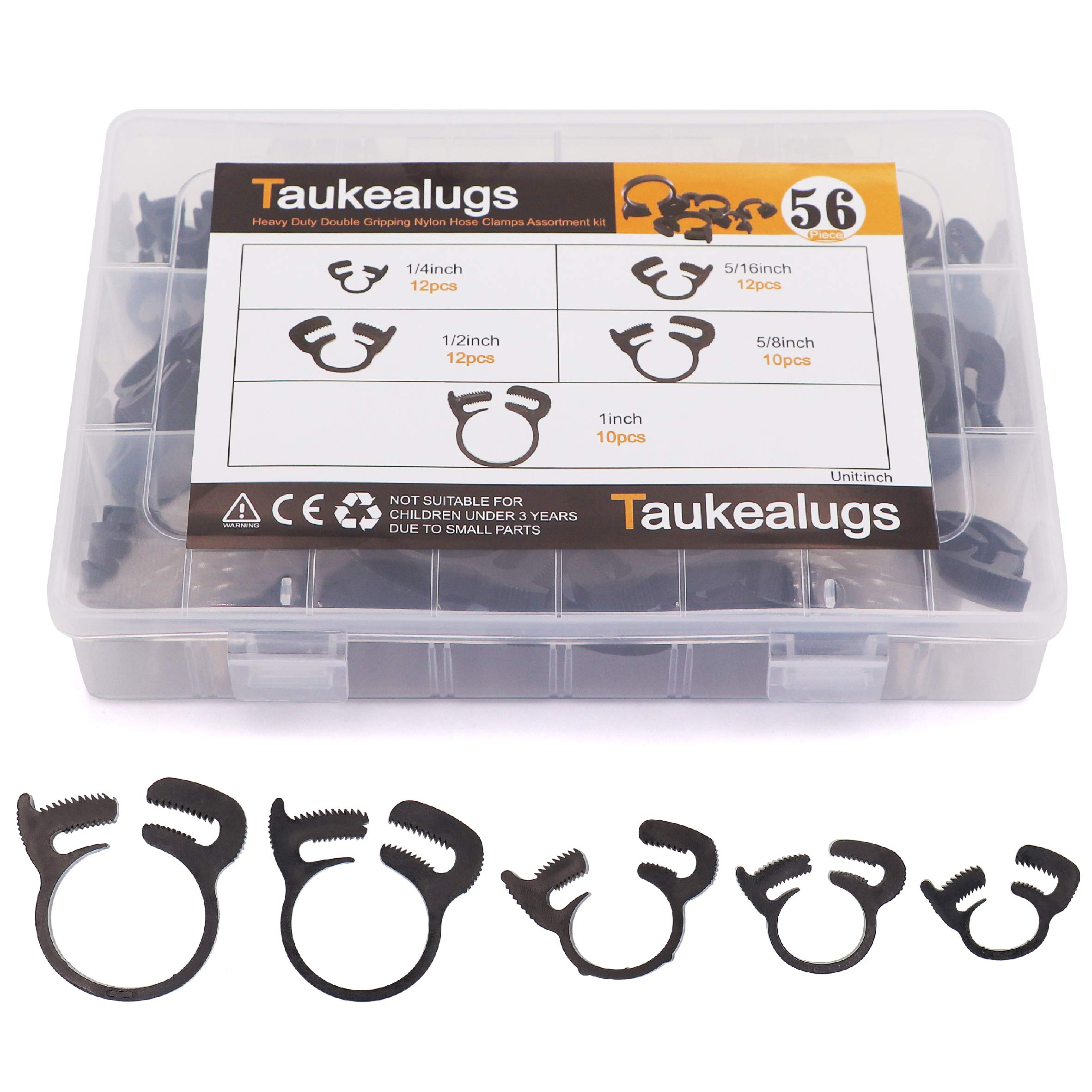 225/° F 10 Pack 200 PSI Rated 1//4 Heavy Duty Double Gripping Nylon Hose Clamps
