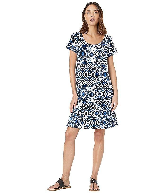 Tribal Printed Jersey Short Sleeve Ruffle Hem Dress (True Blue) Women