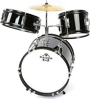 Kaizer Junior Kids Drum Set 3 pc Black Metallic JDRMS3-1000BK