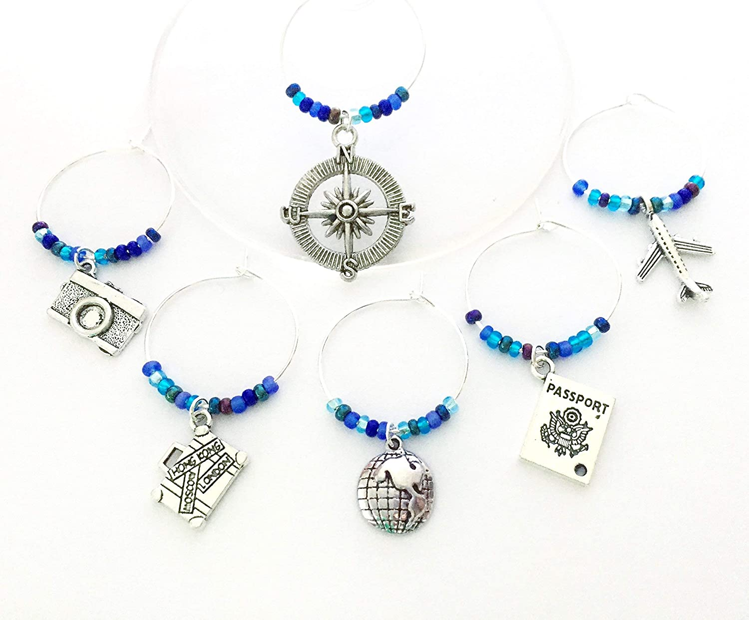 Travel themed Max 52% OFF Wine Charms: Charms Compass include Camera Outlet SALE Suitc