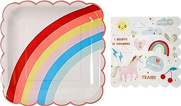 Meri Meri Rainbows and Unicorns Large Plates and Napkins -- Includes 12 Plates and 16 Napkins