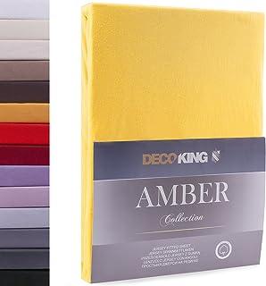 DecoKing Drap-Housse en 100% Coton Peigné Jersey, Amber Collection, 160x200-180x200 cm, Orange