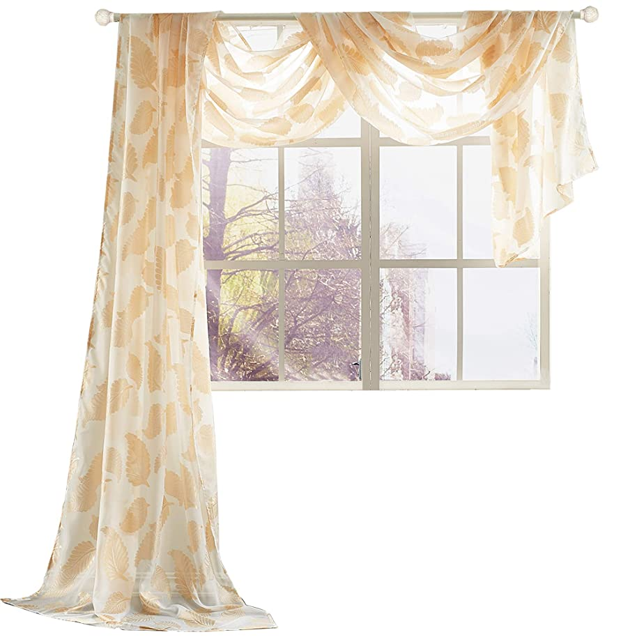 KEQIAOSUOCAI 1 Piece Gold Yellow Jacquard Voile Window Scarf Curtain Sheer Leaves Embroidery Bedroom Drapes, 52 inch Wide by 216 inch Length, 1 Panel Sheer Scarf