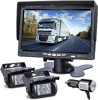 $119 » DVKNM Upgrade Dual Backup Camera Monitor Kit,7-inch-HD,IP69 Waterproof Rearview Reversing Rear View Camera Reversing Monit...