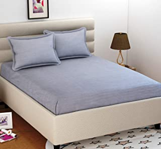 BEVI - Home 144 Tc Solid Microfiber Double Bedsheet with 2 Pillow Cover - (Grey)