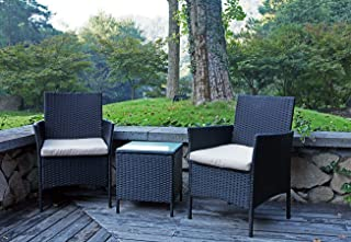 UNITED FLAME 3PCS PATIO CHAIRS INDOOR AND OUTDOOR BALCONY BACKYARD LAWN GARDEN PORCH FURUNITURE SET WITH CUSHIONS AND GLASS TABLE ALL WEATHER RATTAN CAFÉ SET WICKER CHAIR