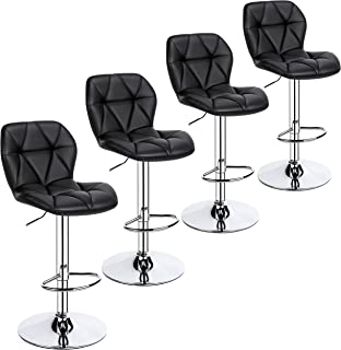 Yaheetech 4pcs Barstools Adjustable PU Leather 360°Swivel Count Bar Chair with Backresr Home Kitchen Counter Stools Black