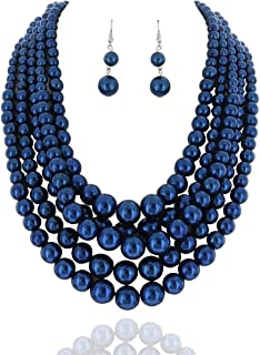 Women's Glossy Pearl Polished Crossover Necklace & Earrings Set