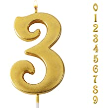 Wedding Anniversary Parties Can Decorate Birthday Parties Gold Glitter Number Candles,Birthday Candles,Sparkler Candles for Birthday Cakes,Suitable for Kids and Adults Etc Graduation Party