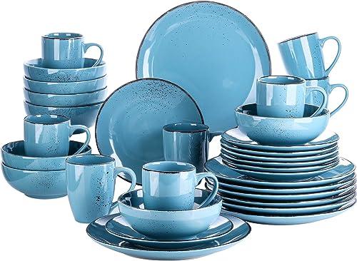 vancasso, Série Navia, Service de Table en Céramique, 32 Pièces pour 8 Personnes, Bols Assiette Colorée Faïence Style...