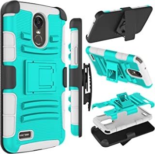 LG Stylo 3 Case, LG Stylus 3 Case, Zenic Heavy Duty Shockproof Full-body Protective Hybrid Case with Swivel Belt Clip and Kickstand for LG LS777 (Turquoise/Grey)