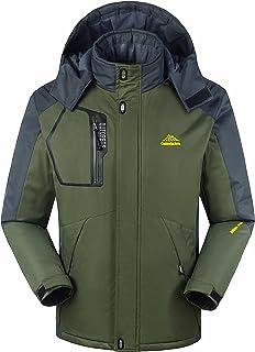 Lega Men's Ski Jacket Insulated Fleece Waterproof Windproof Hooded Rain Jacket Outdoor Coat