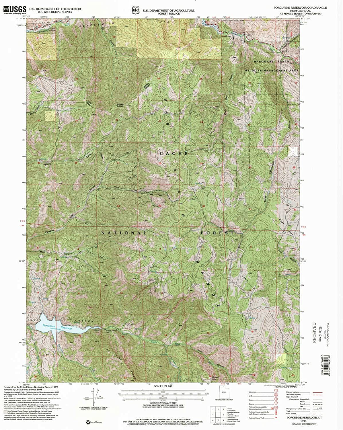 Porcupine Reservoir UT topo map, 1 24000 Scale, 7.5 X 7.5 Minute, Historical, 1998, Updated 2001, 26.8 x 21.8 in