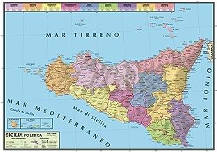 Cartina Della Sicilia Dettagliata.Amazon It Carta Geografica Sicilia