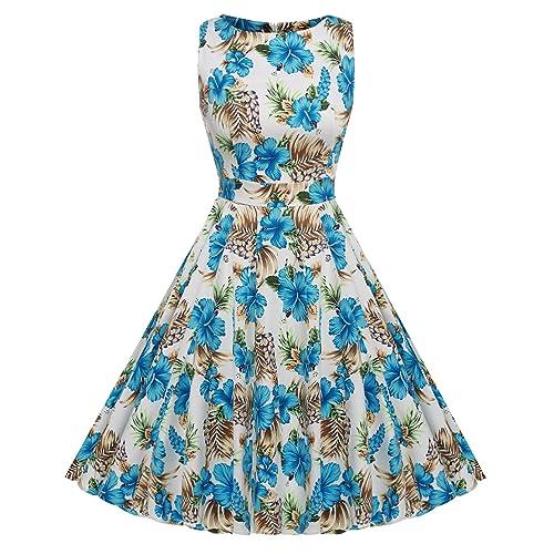 7036da3e447 ACEVOG Vintage 1950 s Floral Spring Garden Party Picnic Dress Party  Cocktail Dress